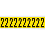 Brady 34 Series 3440-2 Black on Yellow Vinyl Cloth Number Label - Indoor - 7/8 in Width - 2 1/4 in Height - 1 15/16 in Character Height - B-498