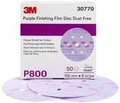 3M Hookit Coated A/O Aluminum Oxide AO Purple Hook & Loop Film Disc - Film Backing - Film Weight - P800 Grit - Super Fine - 6 in Diameter - 30770