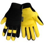 Global Glove Thunder Glove SG7700IN Black/Yellow Large Deerskin Leather/Rubber/Spandex Mechanic's Gloves - SG7700IN/LG