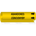 Brady 5622-I Black on Yellow Polyester Acid, Base & Caustic Wrap-Around Pipe Marker - 8 in Width - 3/4 in Character Height - 9 in Length with Right Arrow - B-689