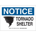 Brady B-555 Aluminum Rectangle White Tornado Shelter Sign - 10 in Width x 7 in Height - 127350