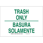 Brady B-555 Aluminum White Litter Sign - 10 in Width x 7 in Height - Language English / Spanish - 125499