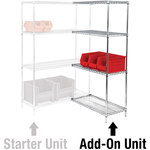 Chrome Shelving Add On Units - 12 in x 36 in x 54 in - SHP-8457