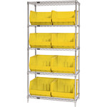 Yellow Shelves With Bins - 36 in x 18 in x 74 in - SHP-3179