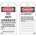 Brady 65522 Black / Red on White Polyester / Paper Lockout / Tagout Tag - 3 in Width - 5 3/4 in Height - B-837