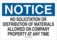 Brady B-302 Polyester Rectangle White Soliciting Sign - 10 in Width x 7 in Height - Laminated - 84151