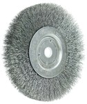Weiler Steel Wheel Brush 0.008 in Bristle Diameter - Arbor Attachment - 6 in Outside Diameter - 5/8 to 1/2 in Center Hole Size - 01045