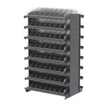 Akro-Mils 800 lbs Clear Gray Steel 16 ga Double Sided Fixed Rack - 36 3/4 in Overall Length - 60 in Height - 128 - Bins Included - APRD120C CLEAR