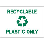 Brady B-302 Polyester Rectangle White Recycle & Environment Sign - 10 in Width x 7 in Height - Laminated - 86007