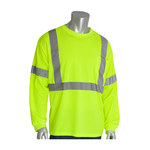 PIP 313-1300-LY Yellow Polyester High Visibility Shirt - Long-Sleeve Shirt - ANSI Class 3 Rating - Fits 57.1 in Chest - 30.7 in Length - 616314-82900