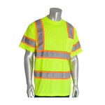 PIP 313-CNTSPLY Yellow Polyester High Visibility Shirt - T-Shirt - ANSI Class 3 Rating - Fits 51.2 in Chest - 31.1 in Length - 616314-71195