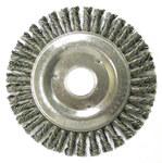 Weiler Steel Wheel Brush 0.02 in Bristle Diameter - Arbor Attachment - 5 in Outside Diameter - 7/8 in Center Hole Size - 08750