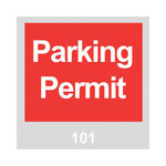 Brady 96234 Red / White on Gray Square Vinyl Parking Permit Label - 3 in Width - 3 in Height - Print Number(s) = 101 to 200