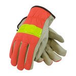 PIP 125-368 Orange/White/Yellow Large Grain Pigskin Cotton/Leather Driver's Gloves - Keystone Thumb - 10 in Length - 125-368/L