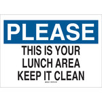 Brady B-555 Aluminum Rectangle White Keep Clean Sign - 10 in Width x 7 in Height - 42344