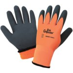 Global Glove Ice Gripster 380INT Orange Large Nylon Cold Condition Gloves - Rubber Palm & Fingers Coating - Terry Insulation - 380INT-9(L)