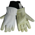 Global Glove 2800GLP White Large Split Goatskin Leather Cold Condition Gloves - Latex Palm Only Coating - Thinsulate Insulation - 2800GLP/LG