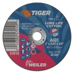 Weiler Tiger Zirc Aluminum Oxide Cutting Wheel - Type 1 - Straight Wheel - 60 Grit - T Grade - 2 in Diameter - 3/8 in Center Hole -.035 in Thick - 57010