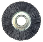 Weiler Ceramic Wheel Brush 0.043 in Bristle Diameter 120 Grit - Arbor Attachment - 8 in Outside Diameter - 2 in Center Hole Size - 86127