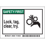 Brady 86880 Black / Green on White Rectangle Polyester Lockout / Tagout Label - 5 in Width - 3 1/2 in Height - B-302