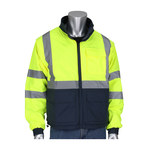 PIP 333-1500-R Hi-Vis Yellow/Gray Large Polyurethane on Polyester Windbreaker - 3 Pockets - None - Fits 51.2 in Chest - 32.9 in Length - 616314-24540