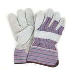 NuTrend ProWorks GWLPEG1 Gray Stripe Universal Split Cowhide Leather Work Gloves - Wing Thumb