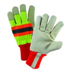 West Chester Yellow/Black/Orange Large Grain Pigskin Leather Cold Condition Gloves - Wing Thumb - Thinsulate Insulation - HVY1555/L