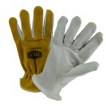West Chester IronCat White/Tan Large Cowhide Leather Welding Glove - Keystone Thumb - 9414/L