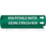 Brady 5843-O White on Green Polyester Water Wrap-Around Pipe Marker - 1/2 in Character Height with Right Arrow - B-689