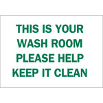Brady B-401 Polystyrene Rectangle White Personal Hygiene Sign - 10 in Width x 7 in Height - 22855