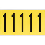Brady 34 Series 3460-1 Black on Yellow Vinyl Cloth Number Label - Indoor - 1 3/4 in Width - 5 in Height - 3 7/8 in Character Height - B-498