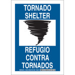 Brady B-555 Aluminum Rectangle Blue Tornado Shelter Sign - 7 in Width x 10 in Height - Language English / Spanish - 125517