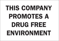 Brady B-302 Polyester Rectangle White Drug Free Environment Sign - 10 in Width x 7 in Height - Laminated - 88908