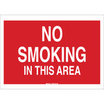 Brady B-120 Fiberglass Reinforced Polyester Rectangle Red No Smoking Sign - 20 in Width x 14 in Height - 72091