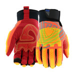 West Chester R2 Orange/Red Large Synthetic Leather Work Gloves - Wing Thumb - ANSI A6 Cut Resistance - 87850/L