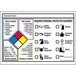 Brady 53075 Black / Blue / Red / Yellow on White Rectangle Vinyl Right-To-Know Label - 5 in Width - 3 1/2 in Height - B-946