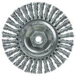 Weiler Steel Wheel Brush 0.02 in Bristle Diameter - Arbor Attachment - 4 in Outside Diameter - 13128