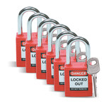 Brady Red Nylon Steel 6-pin Keyed & Safety Padlock 51339 - 1 1/2 in Width - 1 3/4 in Height - 1/4 in Shackle Diameter - 1 Key(s) Included - 754476-51339
