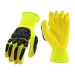 West Chester HVY713NFB Yellow/Black Large Nylon Work Gloves - EN388 Cut 1 Cut Resistance - Nitrile Foam Palm Coating - HVY713NFB/L