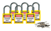 Brady Yellow Nylon Aluminum 5-pin Keyed & Safety Padlock 118930 - 1 1/5 in Width - 1 2/5 in Height - 1/5 in Shackle Diameter - 1 Key(s) Included - 754473-66167