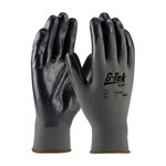PIP G-Tek GP 34-C232 Black/Gray Large Nylon Work Gloves - EN 388 1 Cut Resistance - Nitrile Palm & Fingers Coating - 9.8 in Length - 34-C232/L