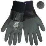 Global Glove FrogWear 590MF Gray/Black Large Nitrile Work Gloves - Nitrile Palm & Fingers Coating - 590MF/LG