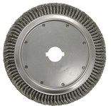 Weiler Steel Wheel Brush 0.02 in Bristle Diameter - Arbor Attachment - 15 in Outside Diameter - 2 in Center Hole Size - 1/2 in x 1/4 in Double Keyway - 09080