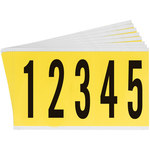 Brady 34 Series 3460-# KIT Black on Yellow Vinyl Cloth Numbers Label Kit - Indoor - 1 3/4 in Width - 5 in Height - 3 7/8 in Character Height - 34652