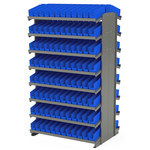 Akro-Mils 800 lbs Blue Gray Steel 16 ga Double Sided Fixed Rack - 36 3/4 in Overall Length - 60 in Height - 192 - Bins Included - APRD110