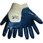 Global Glove 600 Blue 9 Jersey Work Gloves - Nitrile Palm Only Coating - 600/9
