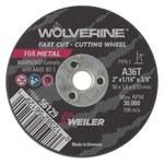 Weiler Weiler Wolverine Aluminum Oxide Cutting Wheel - Type 1 - Straight Wheel - 36 Grit - T Grade - 2 in Diameter - 3/8 in Center Hole - 1/16 in Thick - 56129