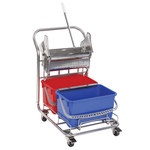 Contec 6.5 gal Blue, Red Downpress Wringer Cart With Bucket - 2620