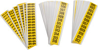 Brady Seriesystem 34253 Black on Yellow Vinyl Cloth Numbers Label Kit - Indoor - 1 1/2 in Width - 3/4 in Height - 5/8 in Character Height