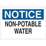 Brady B-555 Aluminum Rectangle White Water Sanitation Sign - 10 in Width x 7 in Height - 40923